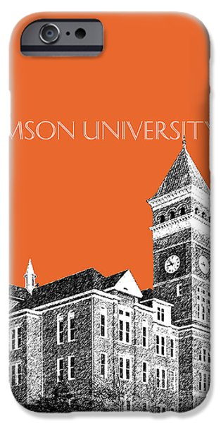 Universities Digital iPhone Cases - Clemson University - Coral iPhone Case by DB Artist