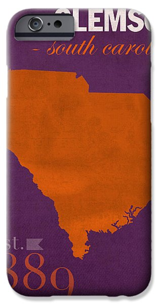 Universities Mixed Media iPhone Cases - Clemson University Tigers College Town South Carolina State Map Poster Series No 030 iPhone Case by Design Turnpike