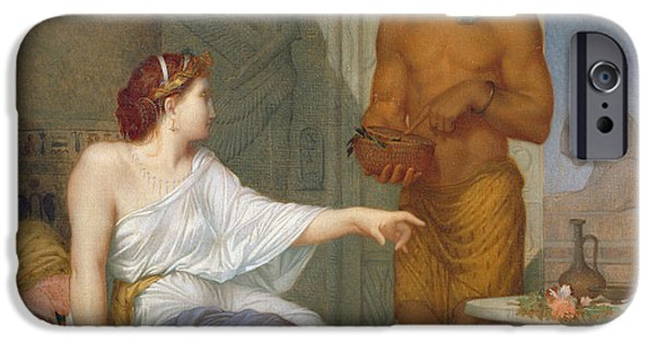 Slave Paintings iPhone Cases - Cleopatra and her Slave  iPhone Case by Henri Blaise Francois Dejussieu