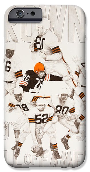 Cleveland Browns 40's to 50's Hall of Famers iPhone Case by Joe Lisowski