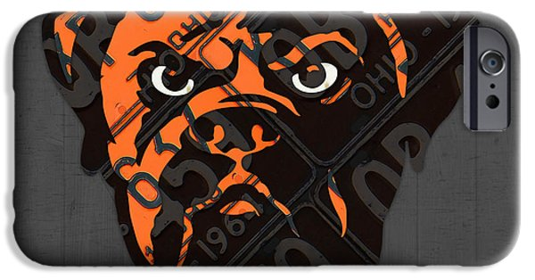 Cleveland iPhone Cases - Cleveland Browns Football Team Retro Logo Ohio License Plate Art iPhone Case by Design Turnpike