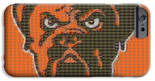 Mascots Mixed Media iPhone Cases - Cleveland Browns Mosaic iPhone Case by Dan Sproul