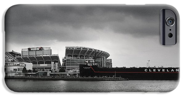 Venue iPhone Cases - Cleveland Browns Stadium From The Inner Harbor iPhone Case by Kenneth Krolikowski