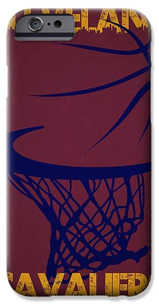 Cavalier iPhone Cases - Cleveland Cavaliers Hoop iPhone Case by Joe Hamilton