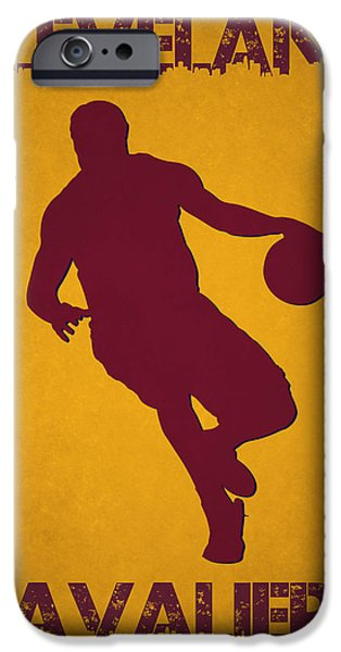 Lebron iPhone Cases - Cleveland Cavaliers Lebron James iPhone Case by Joe Hamilton