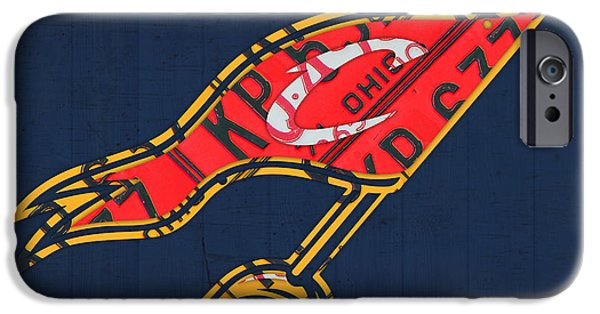 Cleveland iPhone Cases - Cleveland Cavaliers NBA Team Retro Logo Vintage Recycled License Plate Art iPhone Case by Design Turnpike
