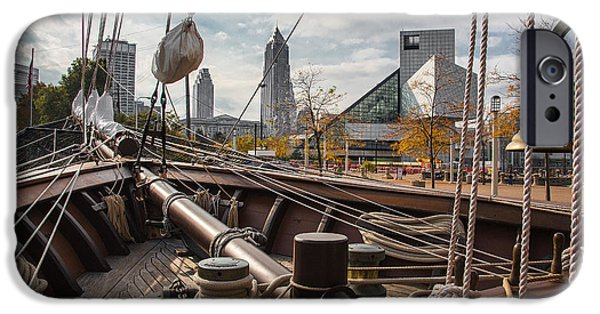 Pirate Ship iPhone Cases - Cleveland From The Deck Of The Peacemaker iPhone Case by Dale Kincaid
