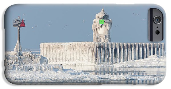 Best Sellers -  - Wintertime iPhone Cases - Cleveland Harbor East Pierhead Light iPhone Case by Clarence Holmes
