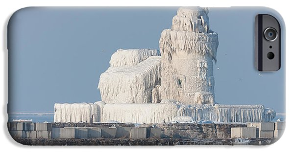 Best Sellers -  - Wintertime iPhone Cases - Cleveland Harbor West Pierhead Light iPhone Case by Clarence Holmes