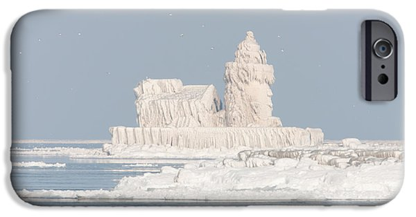Best Sellers -  - Wintertime iPhone Cases - Cleveland Harbor West Pierhead Light II iPhone Case by Clarence Holmes