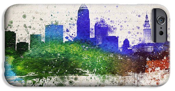Cleveland iPhone Cases - Cleveland in Color iPhone Case by Aged Pixel