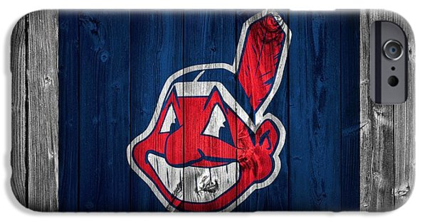 Mlb Mixed Media iPhone Cases - Cleveland Indians Barn Door iPhone Case by Dan Sproul