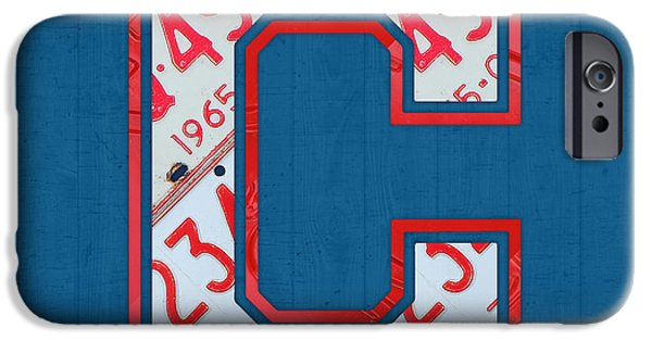 Cleveland iPhone Cases - Cleveland Indians Baseball Team Vintage Logo Recycled Ohio License Plate Art iPhone Case by Design Turnpike