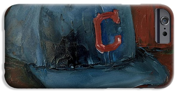 Baseball Art Paintings iPhone Cases - Cleveland Indians iPhone Case by Lindsay Frost