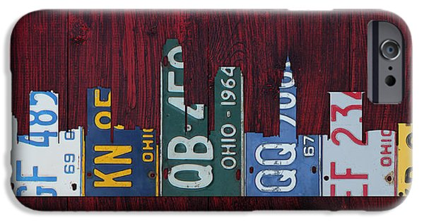 Cleveland iPhone Cases - Cleveland Ohio City Skyline License Plate Art on Wood iPhone Case by Design Turnpike