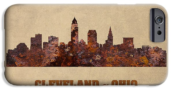 Cleveland iPhone Cases - Cleveland Ohio City Skyline Rusty Metal Shape on Canvas iPhone Case by Design Turnpike