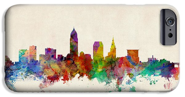 States Digital iPhone Cases - Cleveland Ohio Skyline iPhone Case by Michael Tompsett
