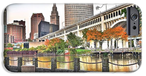 Inner World iPhone Cases - Cleveland Panorama Over The Cuyahoga iPhone Case by Frozen in Time Fine Art Photography