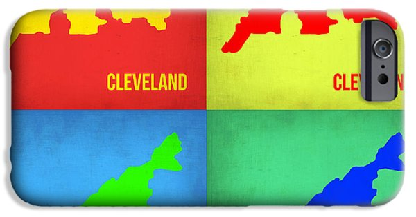 Cleveland iPhone Cases - Cleveland Pop Art map 1 iPhone Case by Naxart Studio