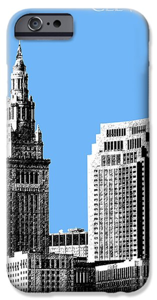 Pen And Ink iPhone Cases - Cleveland Skyline 1 - Light Blue iPhone Case by DB Artist