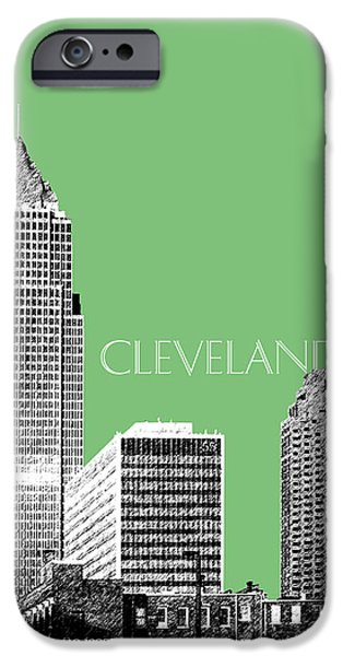 Pen And Ink iPhone Cases - Cleveland Skyline 2 - Apple iPhone Case by DB Artist