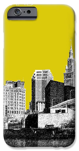Pen And Ink iPhone Cases - Cleveland Skyline 3 - Mustard iPhone Case by DB Artist