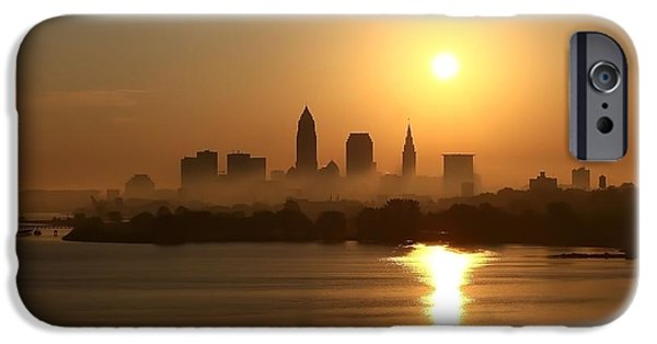 Skyline Pyrography iPhone Cases - Cleveland Skyline at Sunrise iPhone Case by Daniel Behm