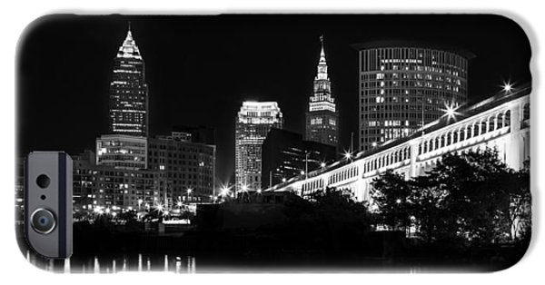 Banks iPhone Cases - Cleveland Skyline iPhone Case by Dale Kincaid