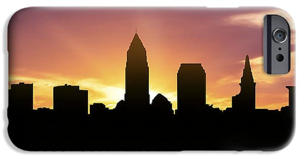 Cleveland iPhone Cases - Cleveland Skyline Panorama Sunset iPhone Case by Aged Pixel