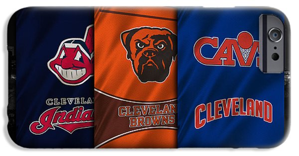 Baseball Uniform iPhone Cases - Cleveland Sports Teams iPhone Case by Joe Hamilton