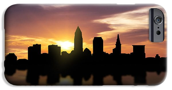Downtown Mixed Media iPhone Cases - Cleveland Sunset Skyline  iPhone Case by Aged Pixel