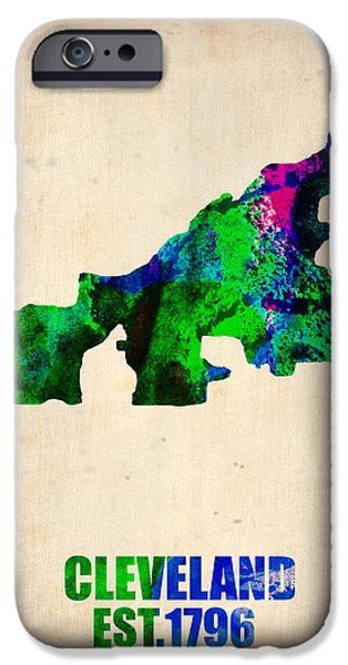 Cleveland iPhone Cases - Cleveland Watercolor Map iPhone Case by Naxart Studio