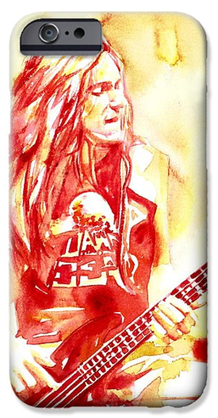Metallica Paintings iPhone Cases - Cliff Burton Playing Bass Guitar Portrait.1 iPhone Case by Fabrizio Cassetta