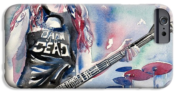 Metallica Paintings iPhone Cases - Cliff Burton Playing Bass Guitar Portrait.2 iPhone Case by Fabrizio Cassetta