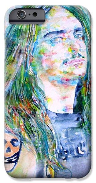 Metallica Paintings iPhone Cases - Cliff Burton Portrait.1 iPhone Case by Fabrizio Cassetta