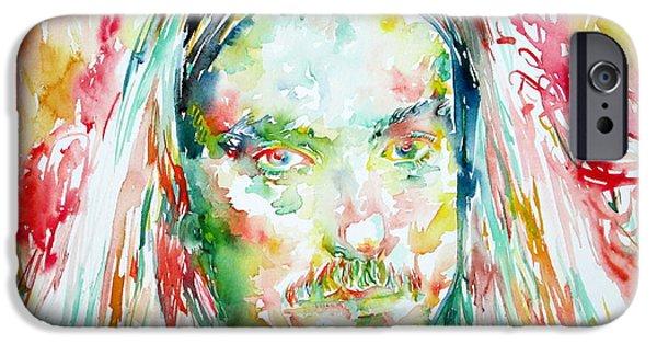 Metallica Paintings iPhone Cases - Cliff Burton Portrait.2 iPhone Case by Fabrizio Cassetta