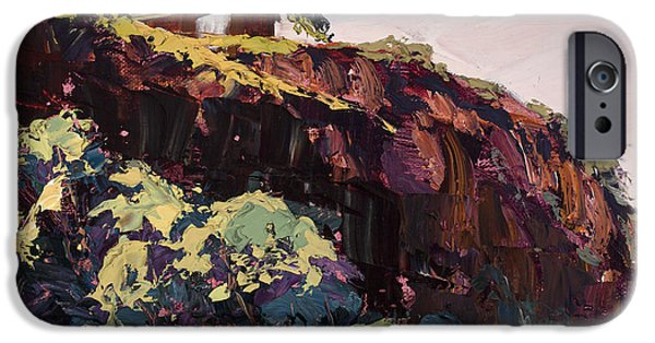 Pallet Knife Paintings iPhone Cases - Cliff Hanger iPhone Case by Mary Giacomini