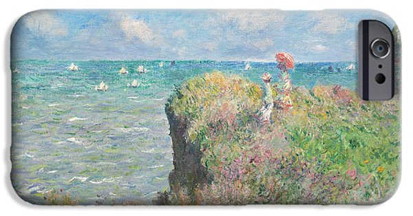 Sailboat Ocean Digital Art iPhone Cases - Cliff Walk At Pourville iPhone Case by Claude Monet