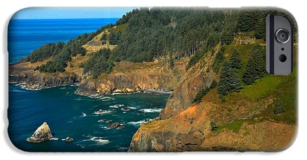 Rugged Coastline iPhone Cases - Cliffs At Cape Foulweather iPhone Case by Adam Jewell