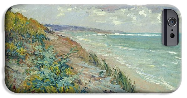 Seascape iPhone Cases - Cliffs by the sea at Trouville  iPhone Case by Gustave Caillebotte