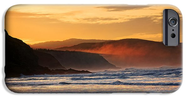 Fog Mist iPhone Cases - cliffs in Sopelana at sunset with mist iPhone Case by Mikel Martinez de Osaba