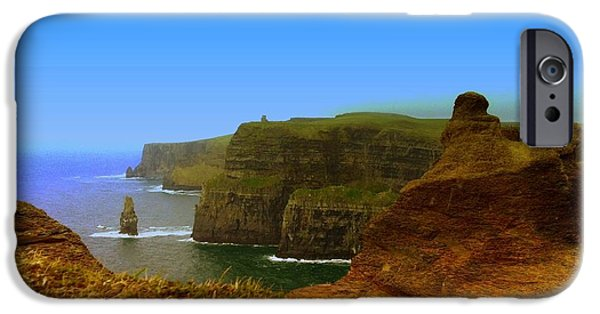 Time Pyrography iPhone Cases - Cliffs of Moher Ireland iPhone Case by Ilona Asaciova