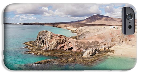 Beach Landscape iPhone Cases - Cliffs On The Beach, Papagayo Beach iPhone Case by Panoramic Images