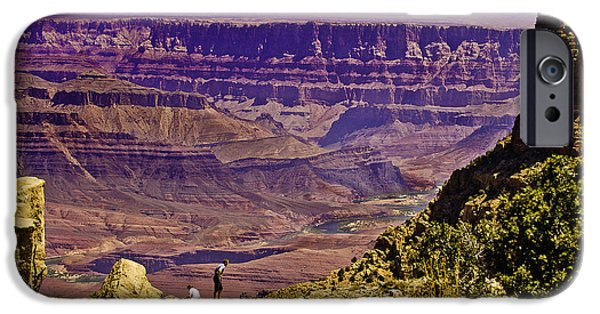 Grand Canyon Mixed Media iPhone Cases - Climbing in Grand Canyon iPhone Case by  Bob and Nadine Johnston