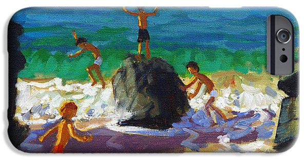 Water Play iPhone Cases - Climbing rocks Porthmeor beach St Ives iPhone Case by Andrew Macara