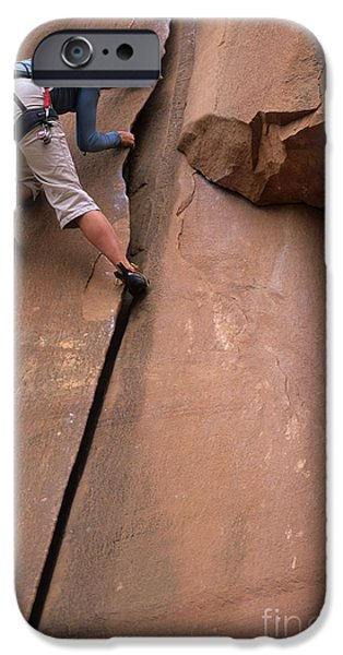 Technical iPhone Cases - Utah Climbing The Crack iPhone Case by Bob Christopher