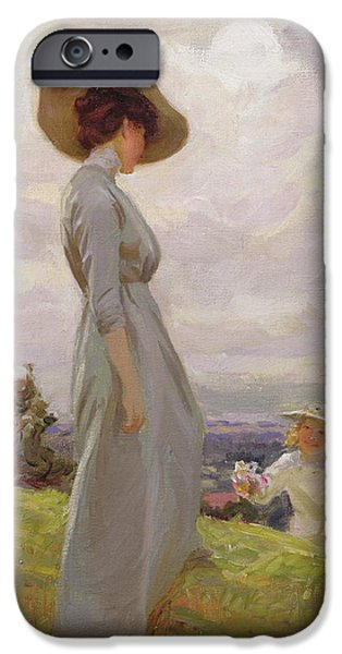 Edwardian iPhone Cases - Climbing Up The Hillside Oil On Canvas iPhone Case by Frederick Stead