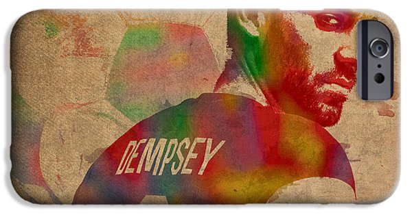 Player Mixed Media iPhone Cases - Clint Dempsey Soccer Player USA Football Seattle Sounders Watercolor Portrait on Worn Canvas iPhone Case by Design Turnpike