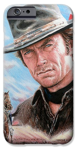 4th July Drawings iPhone Cases - Clint Eastwood American Legend iPhone Case by Andrew Read