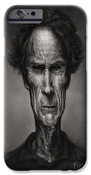 Caricature Digital Art iPhone Cases - Clint Eastwood iPhone Case by Andre Koekemoer